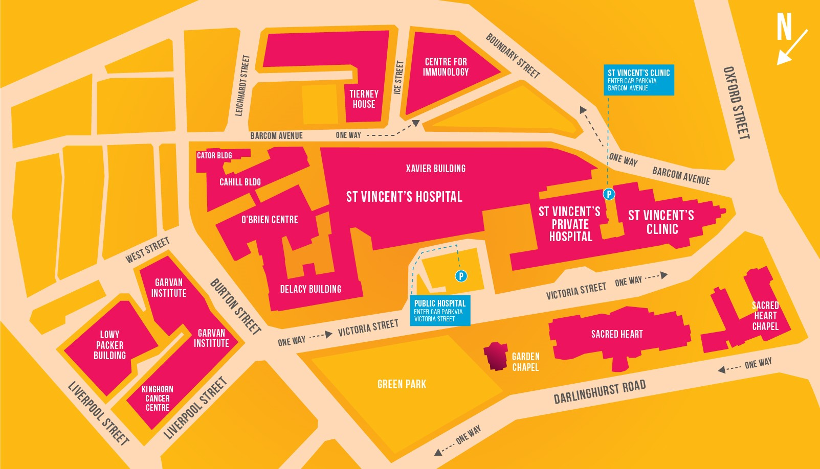 St Vincent's Campus Map